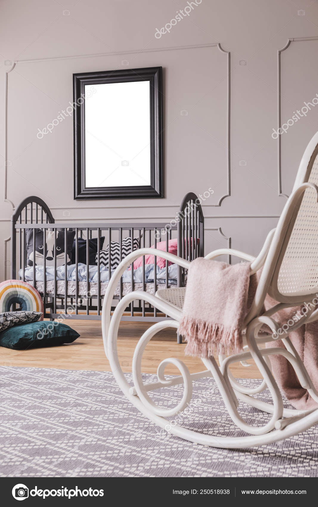 Sensational White Rocking Chair With Pastel Pink Blanket In Elegant Pabps2019 Chair Design Images Pabps2019Com