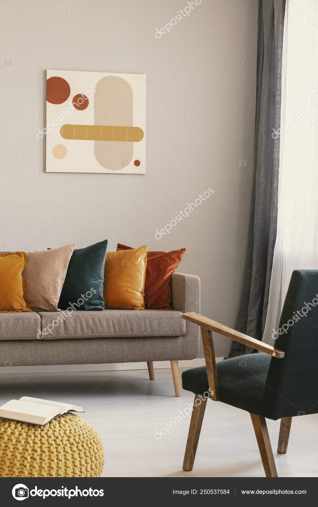 Strange Abstract Painting On Grey Wall Of Retro Living Room Interior Dailytribune Chair Design For Home Dailytribuneorg