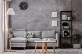 Photo Copy space and black clock on grey concrete wall in chic living room with industrial black metal bookshelf next to corner sofa with pastel grey knot pillow