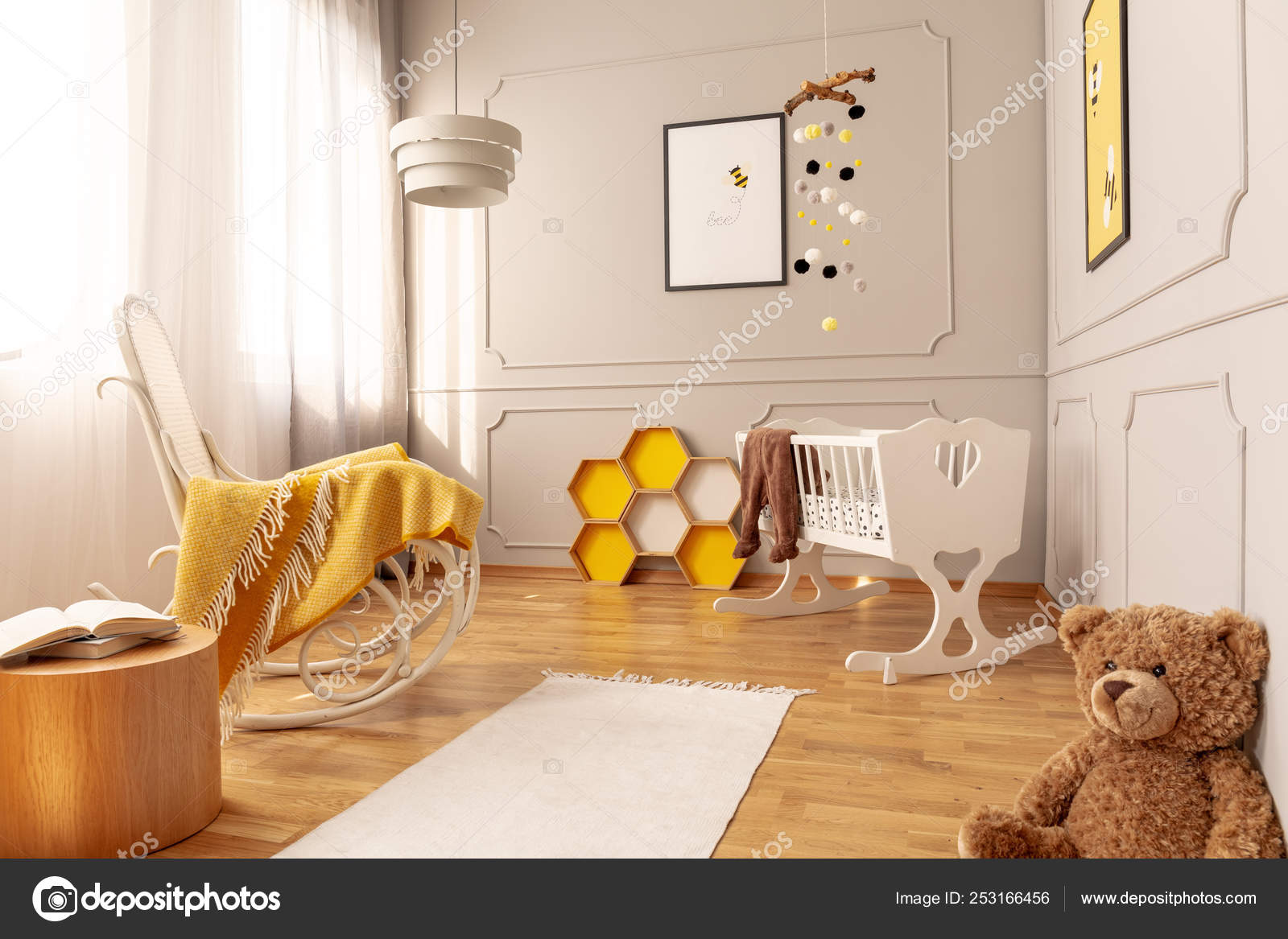 Picture of: Yellow Blanket On White Wooden Rocking Chair In Spacious Baby Bedroom With Teddy Bear And Rug On The Floor Stock Photo C Photographee Eu 253166456