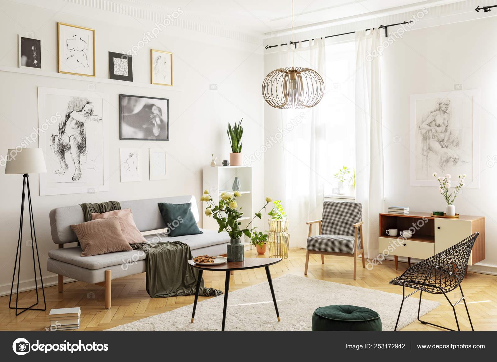 Warm Carpet On Parquet Floor Of Trendy, Trendy Living Room