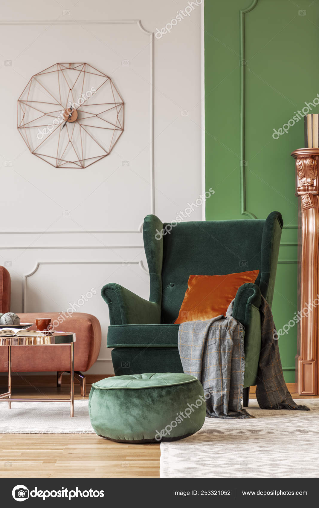 Elegant Green Armchair With Dark Orange Pillow And Grey