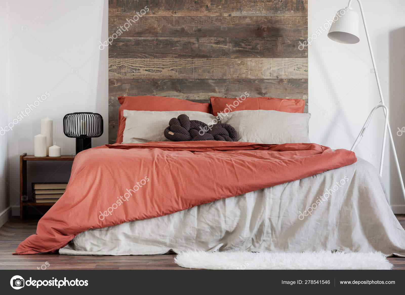 Comfortable King Size Bed With Wooden Rustic Headboard And White Industrial Lamp Next To It Stock Photo C Photographee Eu 278541546