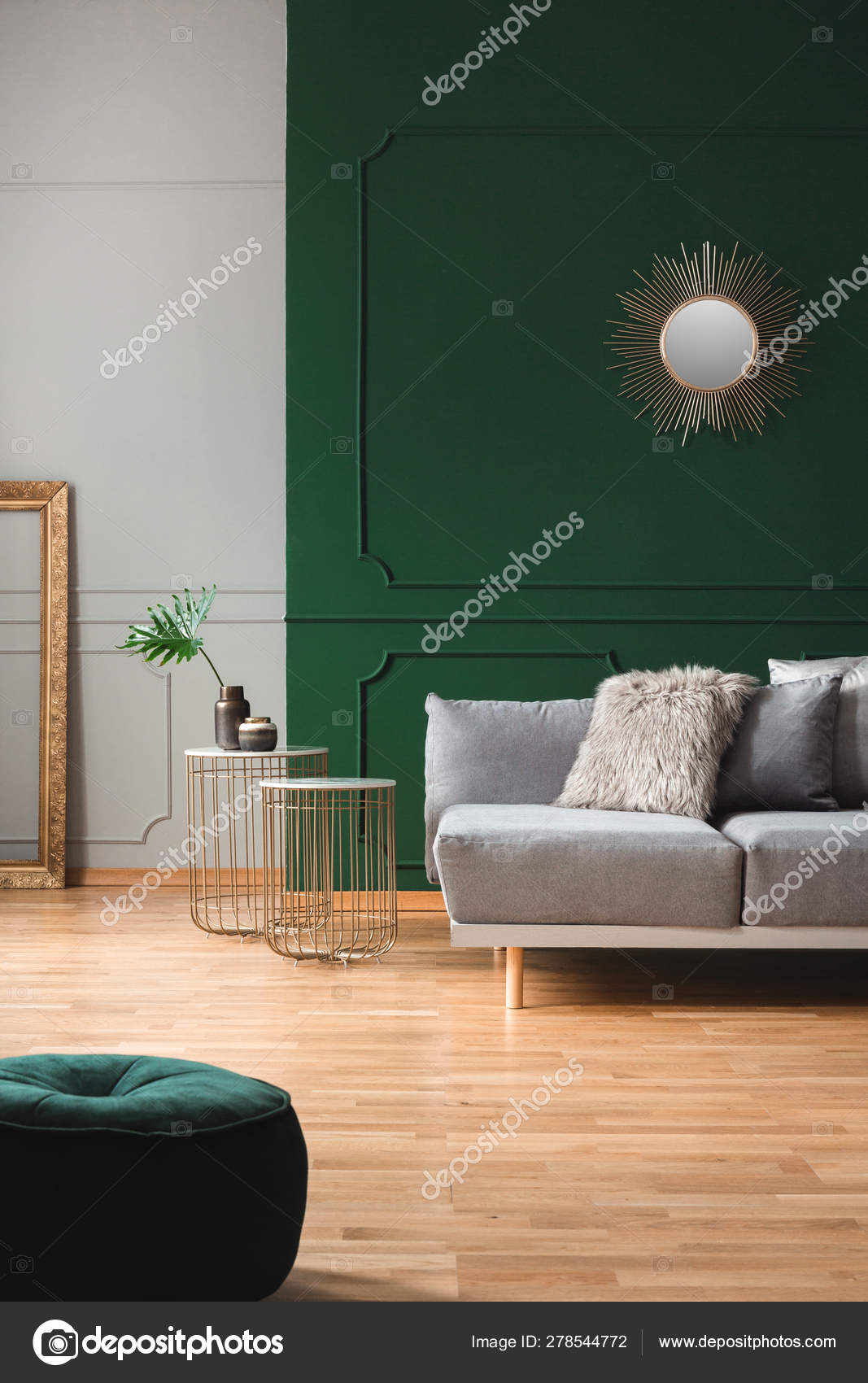 Groovy Emerald Green Living Room Interior With Grey And Golden Gmtry Best Dining Table And Chair Ideas Images Gmtryco