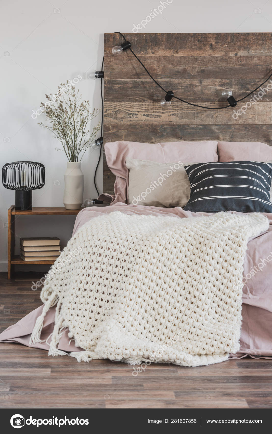 Picture of: Beautiful Bedroom Interior With King Size Bed Wooden Headboard Stock Photo C Photographee Eu 281607856