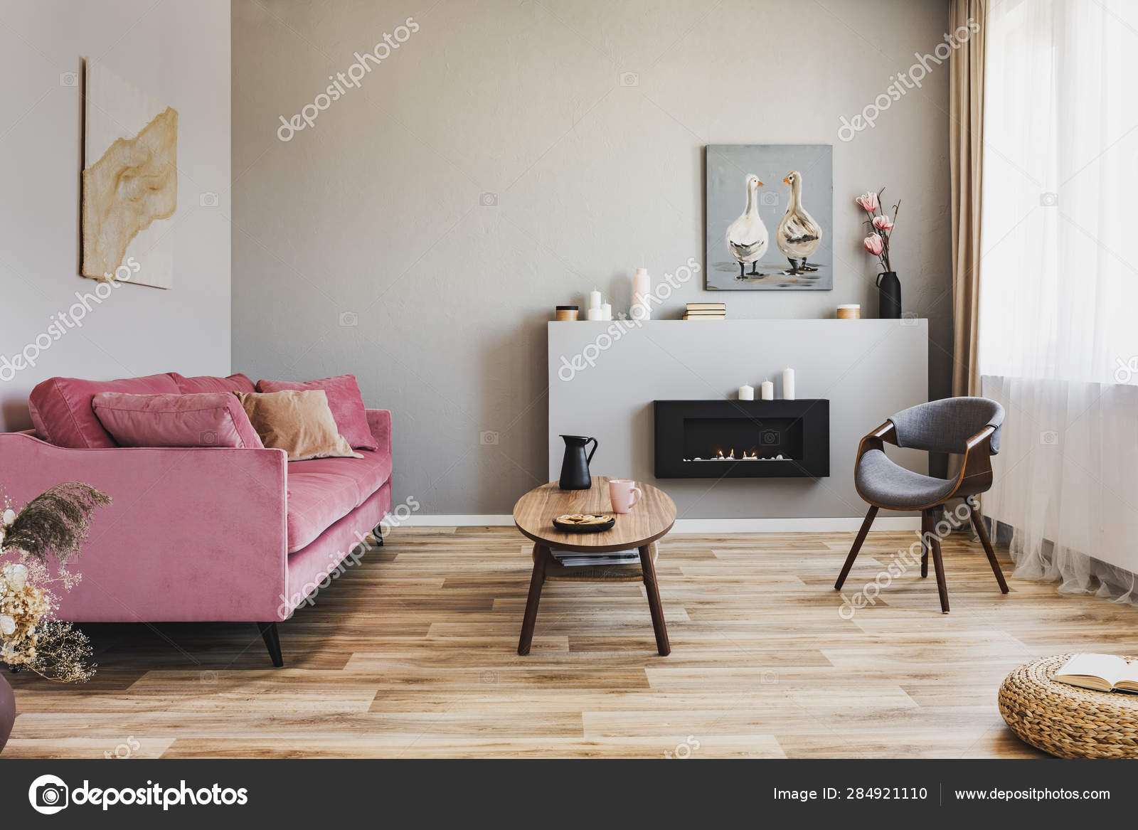 Awesome Stylish Living Room Interior With Pastel Pink Sofa Wooden Creativecarmelina Interior Chair Design Creativecarmelinacom