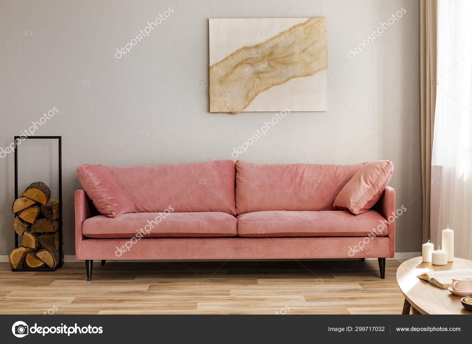 Pastel Abstract Painting On Beige Wall Behind Velvet Pink Settee In Simple Living Room Stock Photo C Photographee Eu 299717032