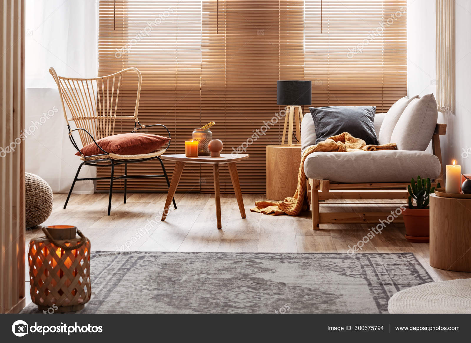 Stylish natural living room with raw wooden furniture and ...