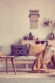 Fotografie Nippes auf Holzkommode hinter grauem Sofa mit Kissen und Decke