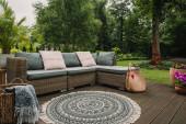 Spousta zelených rostlin ve velké nádherné zahradě s módním nábytkem na terase