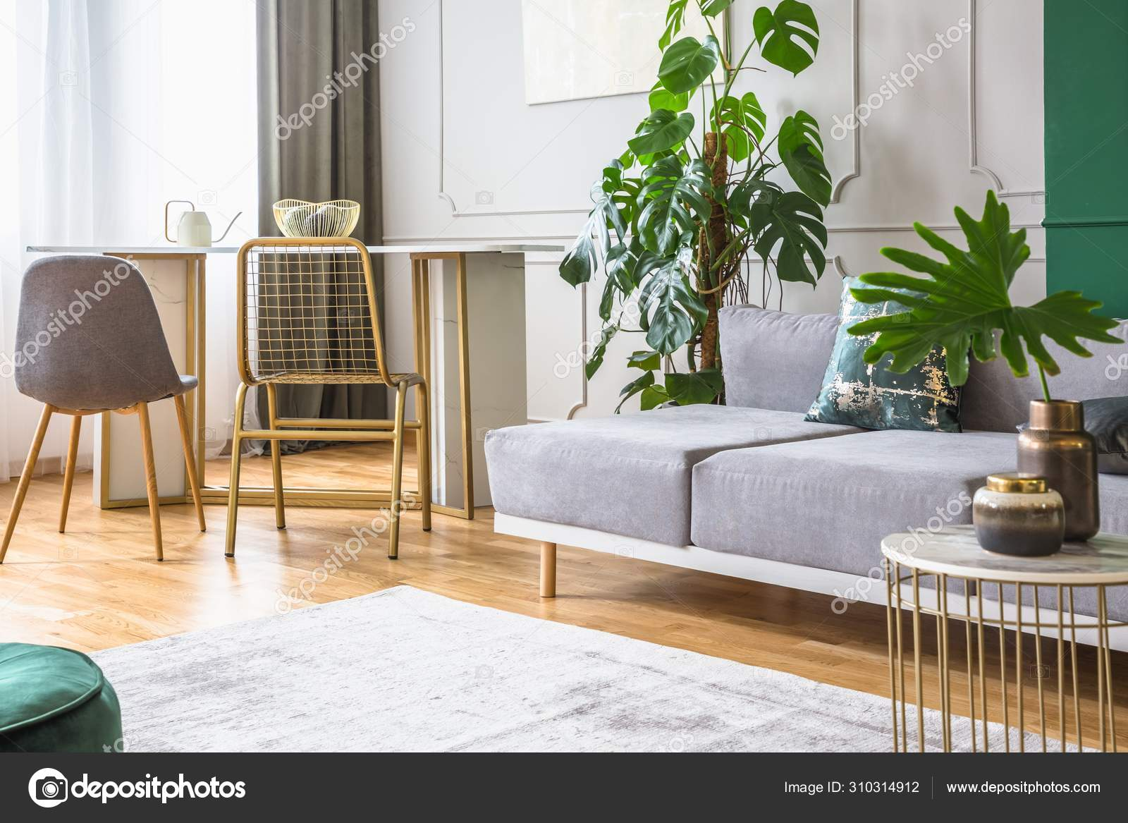 Fancy Golden Chair At Small Dining Table In Chic Living Room Stock Photo C Photographee Eu 310314912