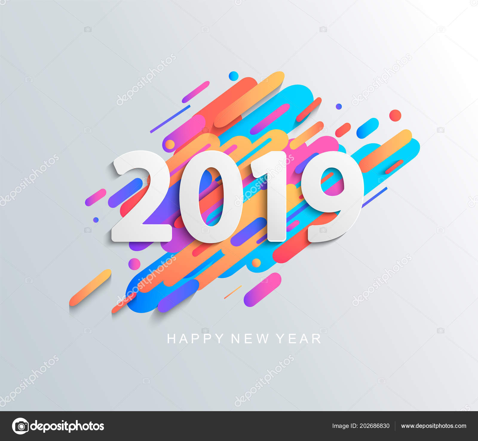 Creative Happy New Year 2019 Card Modern Motion Background Vector