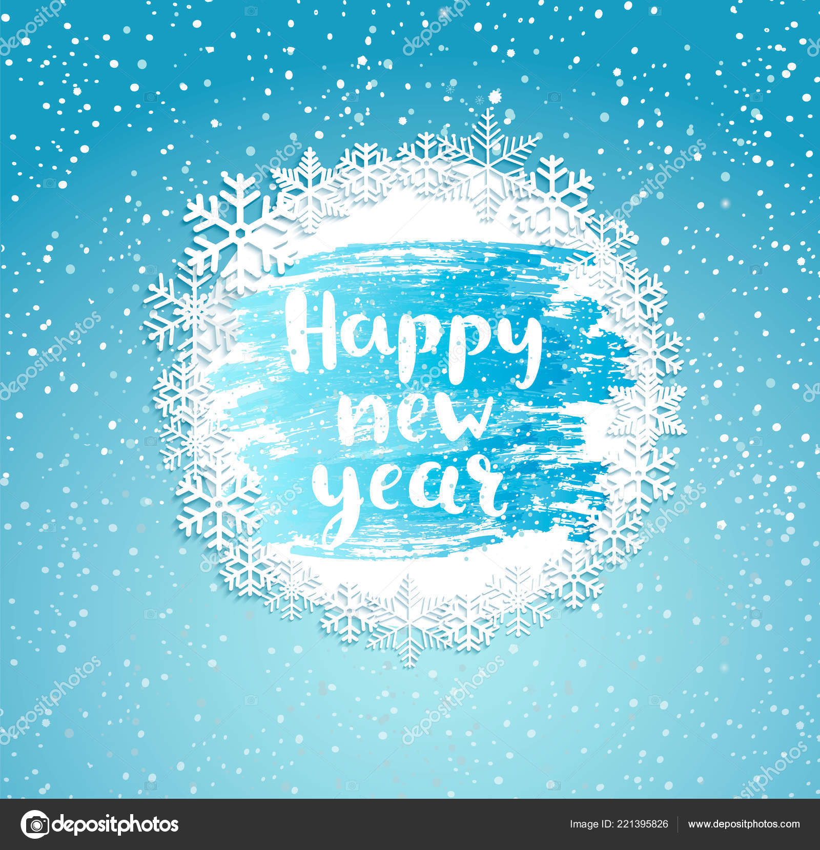 happy new year greeting card vintage frame snowflakes frosty window stock vector