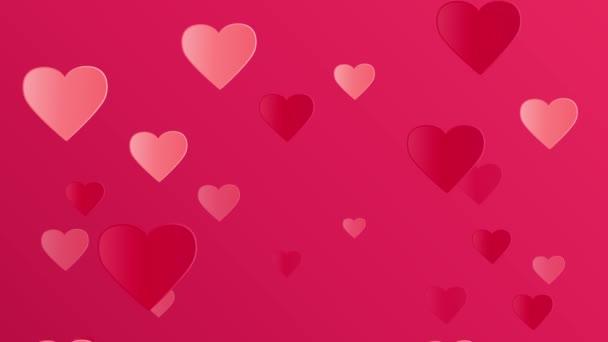 Hell rosa Plakat mit fliegenden Herzen zum Valentinstag