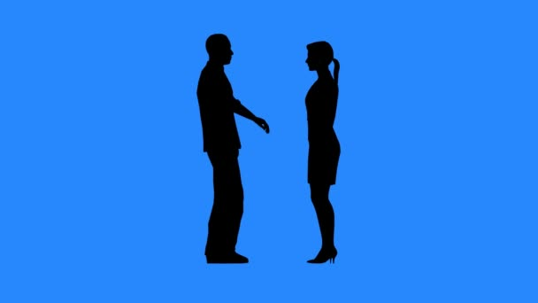 Man and woman talking to each other. Relations between men and women. Communication between people. Black silhouettes on blue background.