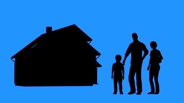 Rodina, koupi domu. Koncept nákupu nemovitostí. Rodinné stání před domem. Muž a žena plánuje vybudování domu.