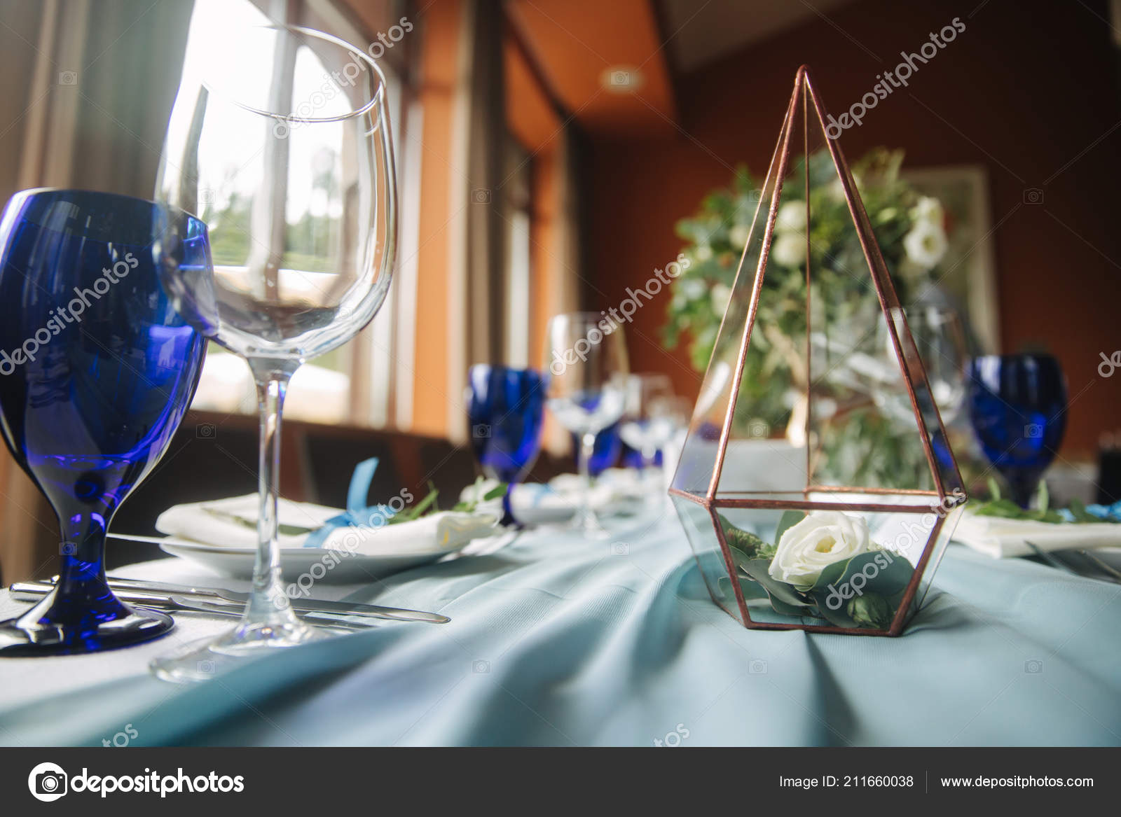 Elements Of Wedding Decoration In Restaurant Green And Blue Color Stock Photo C Gritsiv Foto 211660038