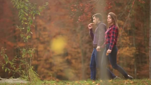 Couple in love spend time together in autumn