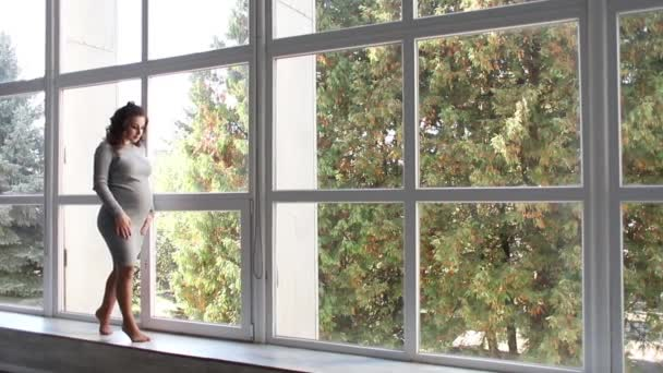 Krásná těhotná žena chodí v domě poblíž velké okno. Ona je oblečená v šatech pro těhotné ženy. Krásný účes a make-up