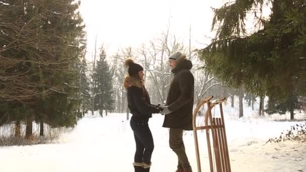 Beautiful couple spent time in the park. They sledding and have fun. Snowy weather