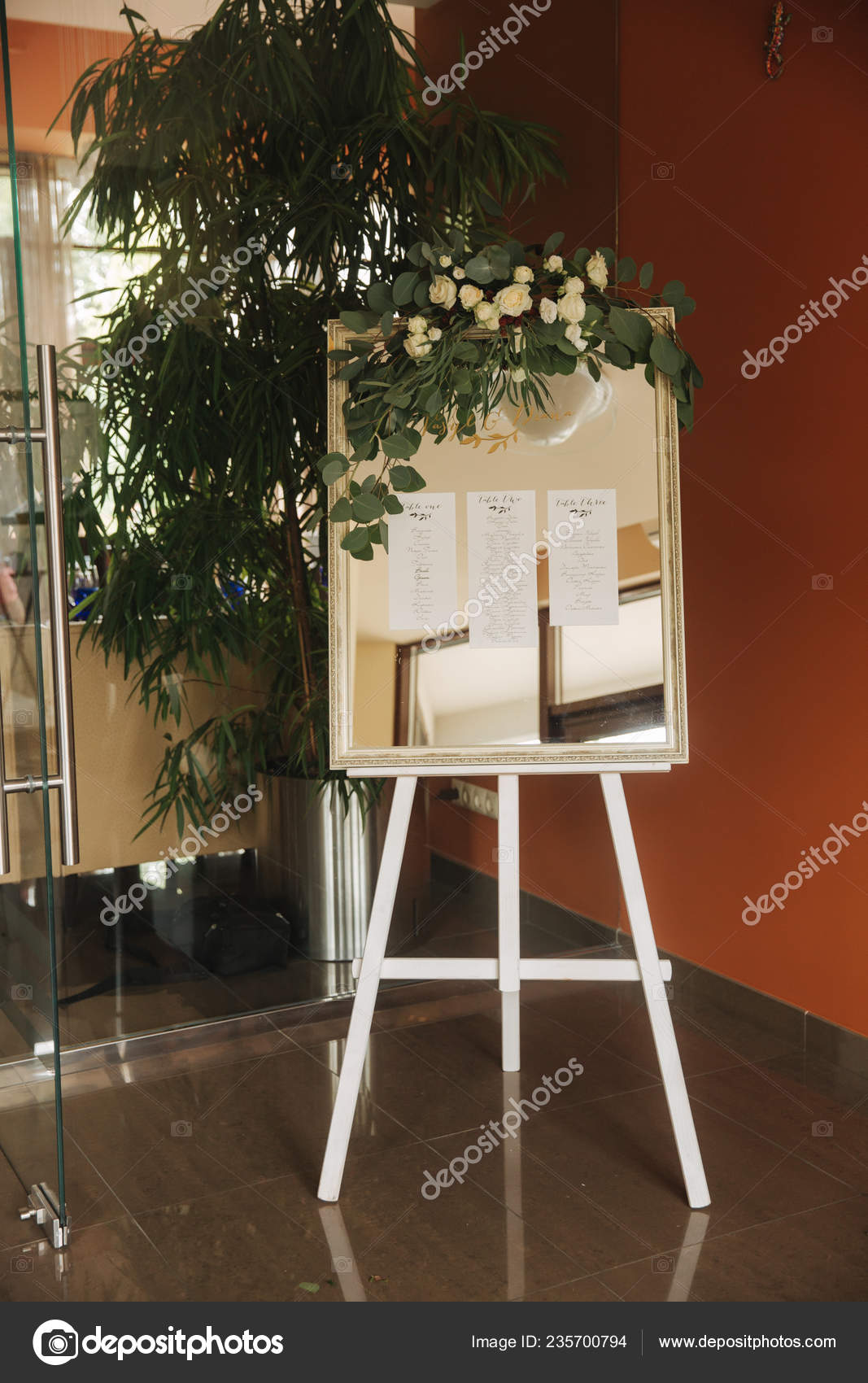 Elements Of Wedding Decoration In Restaurant Green And Blue Color Stock Photo C Gritsiv Foto 235700794