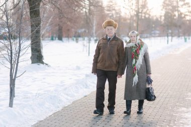 Romantic senior couple walkink in the park in winter time. Love forever. background of white winter snow