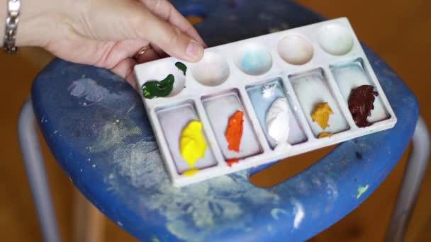 Artist use oil paints on palette. Art concept