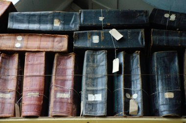 Old stock-books in an English 19th century textile factory.