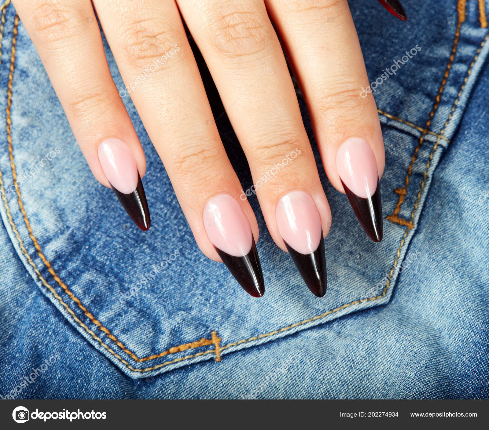 Hand Long Artificial Black French Manicured Nails Jeans Textile