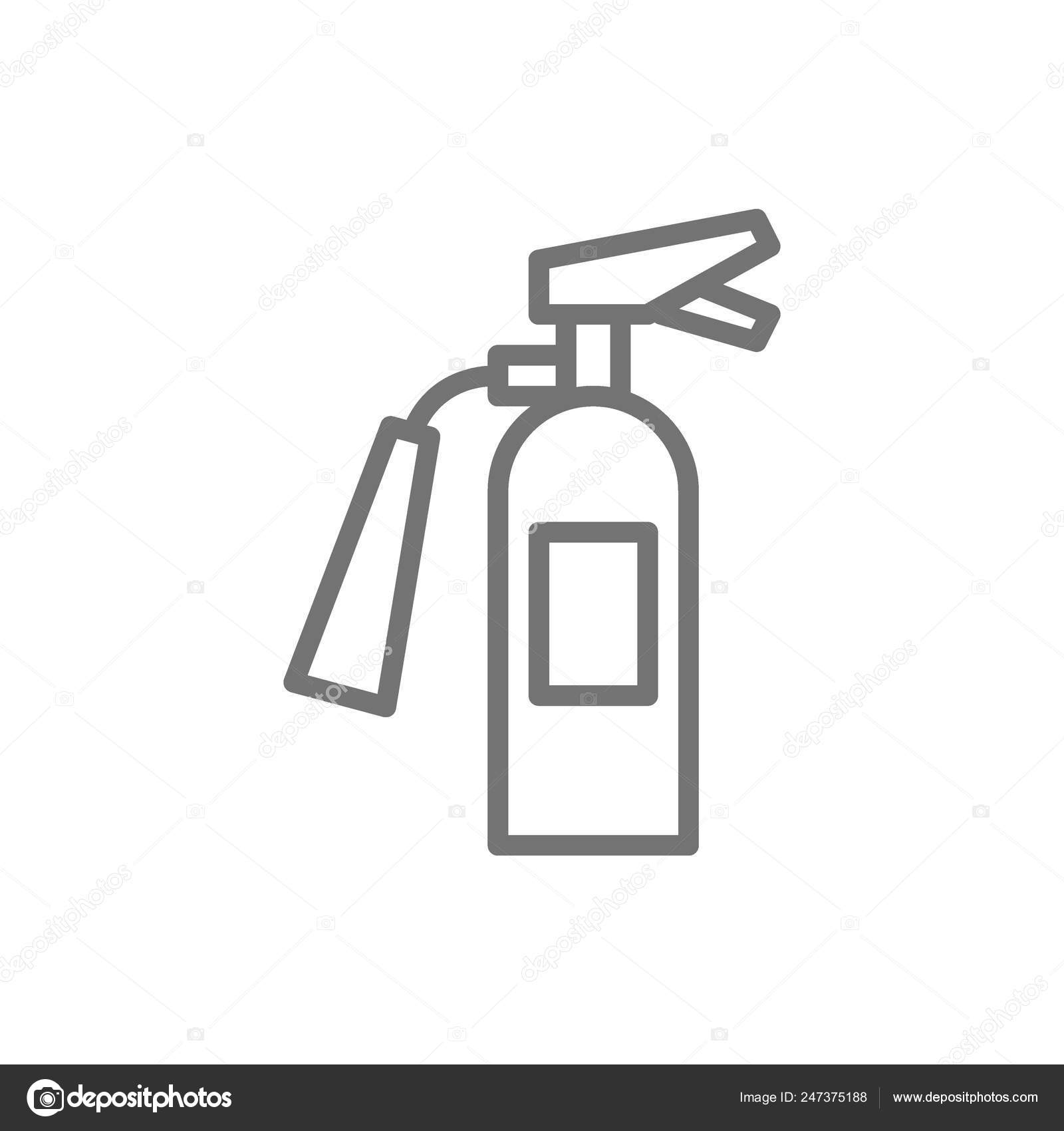 Fire extinguisher, firefighter equipment line icon  — Stock