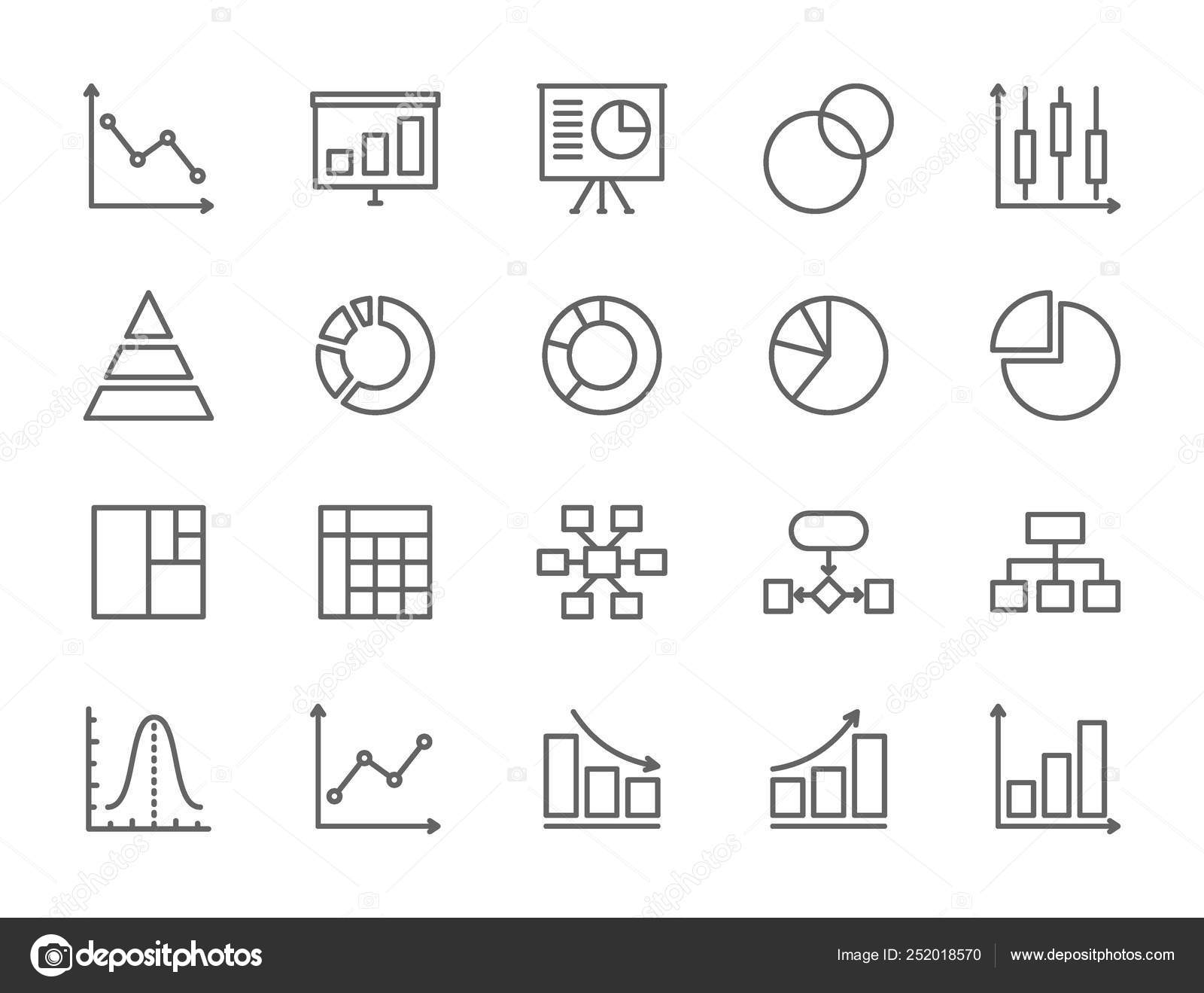 Set of Graph and Chart Line Icons  Pie Chart, Statistics