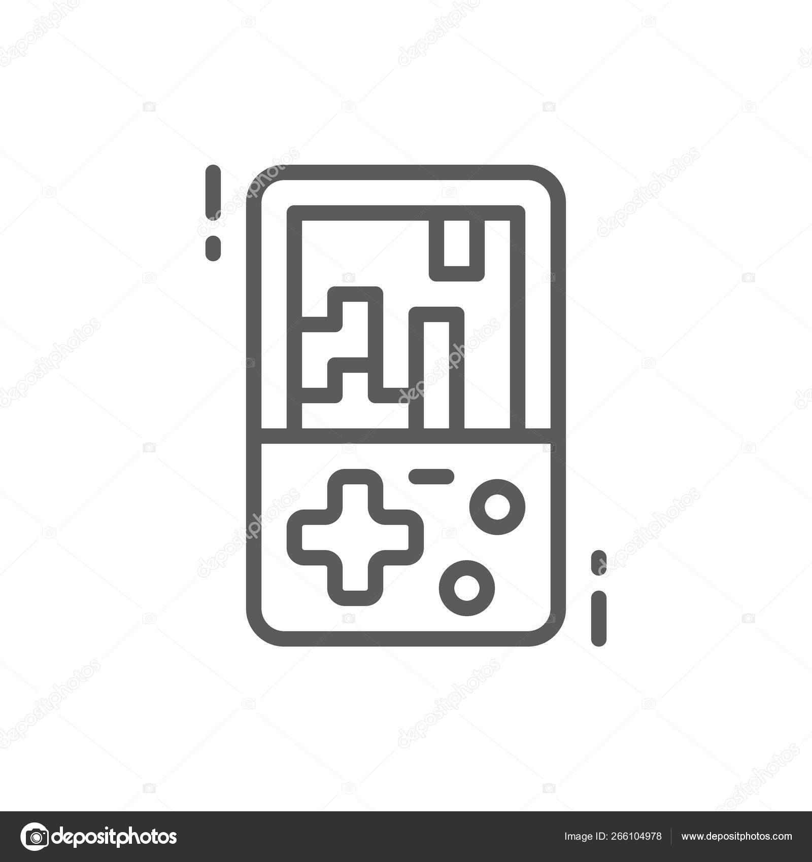 Tetris Electronic Brick Game Line Icon Stock Vector C Studicon 266104978