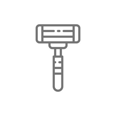 Disposable shaving razor line icon. Isolated on white background