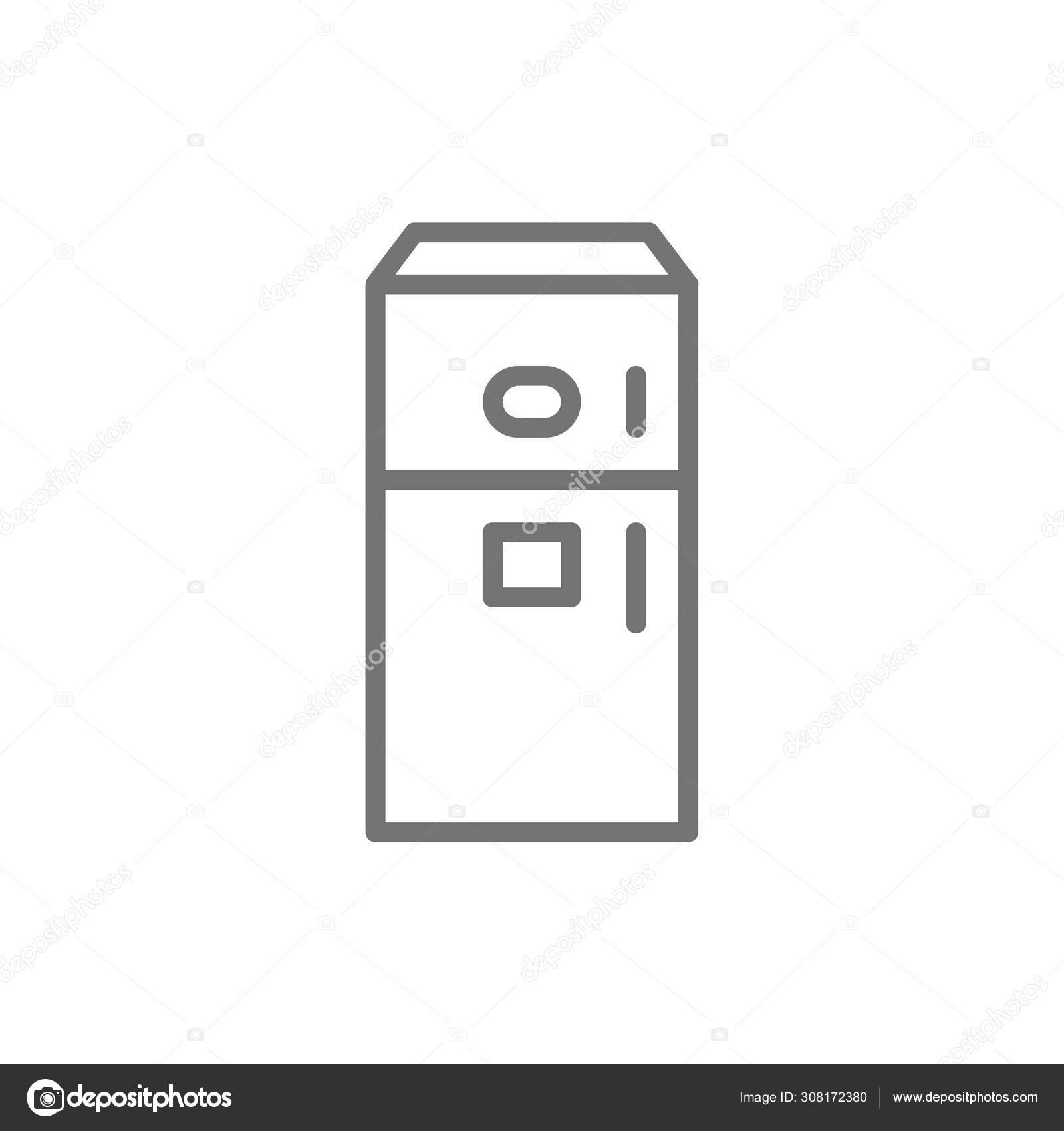 Fridge With Ice Maker Machine Line Icon Stock Vector C Studicon 308172380
