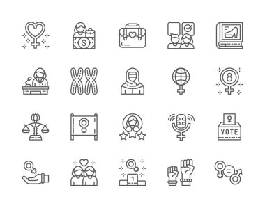 Set of Feminism Line Icons. Female Protest, Salary, Gender Gap, Chromosomes, Women Power, Lesbian Couple and more. Pack of 48x48 Pixel Icons icon