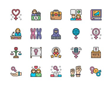 Set of Feminism Flat Color Line Icons. Female Protest, Salary, Gender Gap, Chromosomes, Women Power, Lesbian Couple and more. Pack of 48x48 Pixel Icons icon