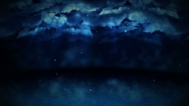 Moře krajiny ilustrace v zimě, abstraktní povahy pozadí, smyčky lesní animace,