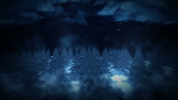 Winter Forest illustration, Night scene, Abstract nature background, Loop landscape animation,