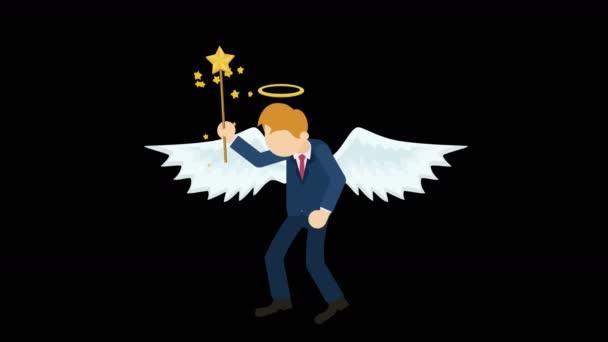 Roztomilý anděl ilustrace. Láska  mír. Obchodní charakter. Cosplay. Abstraktní smyčky animace.