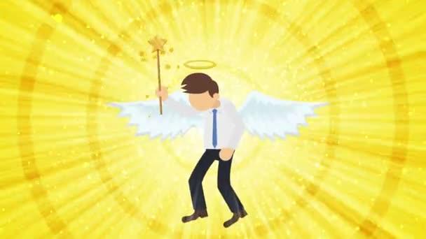 Zeichentrickengel fliegen im Himmel. Glücklich. Business-Kostüm. Cosplay. Schlaufenflaches Design.