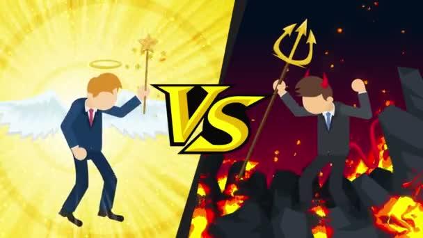 Angyal és ördög ruha grafikus. Boldog, vagy boldogtalan. Csata. A verseny. Cosplay. Rajzfilm ismételt animáció.