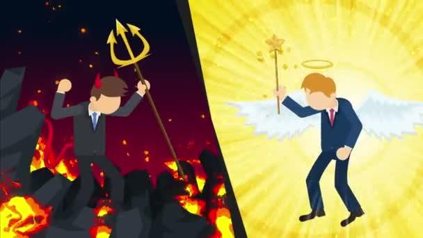 Anděl a ďábel jak grafiku. Šťastný nebo nešťastný. Bitva. Konkurence. Cosplay. Opakování animace kreslený