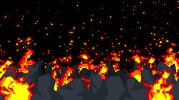 Zlo abstraktní animace, pozadí apokalyptické peklo, ohněm na strašidelné divočiny,