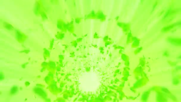 Vortex from green leaves. Spiral shiny particle of seasonal leaves. Dancing leaf. Colorful nature tunnel loop animation.
