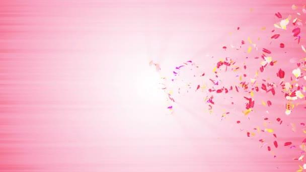 Színes szirmok. Spirális fényes szirmok a virágokat. Virágmintás. Szép táncoló szirom. Vortex a spin szirmok. Absztrakt hurok-animáció.