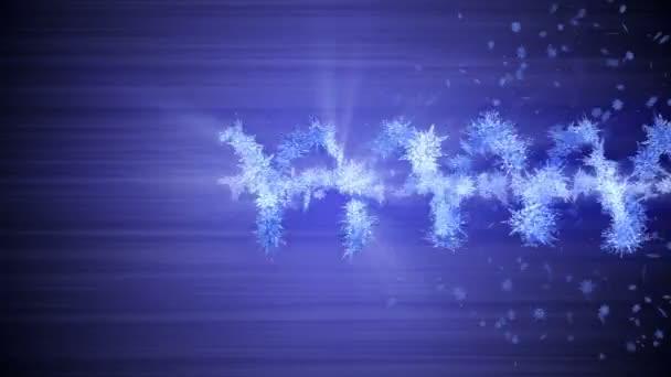 Simbolo invernale shinning con fiocchi di neve di bellezza. Vortice dalla neve spin. Modello invernale. Bellezza danza fiocchi di neve. Animazione loop astratto.
