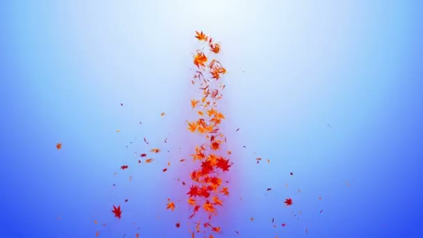 Vortex from colorful maple and leaves. Spiral shiny particle of autumn leaves. Dancing leaf. Colorful nature tunnel loop animation.