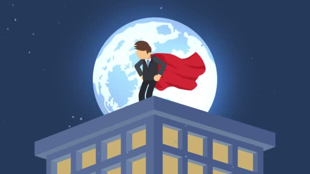 Superheld in der Mondscheinstadt. über Wolkenkratzer stehend. Wirtschaftssymbol. Führungs- und Herausforderungskonzept. Comic-Loop-Animation.