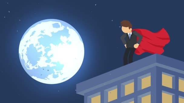 Superhero in moonlight city. Standing over skyscraper. Business symbol. Leadership and Challenge concept. Comic loop animation.