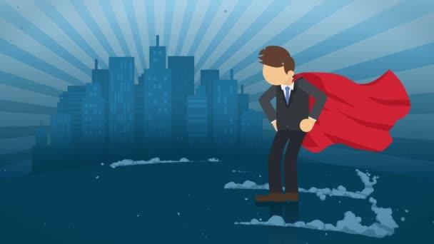 Szuperhős állva város háttérben. Közel egy felhő a por. Üzleti szimbólum. Vezetés és Achievement koncepció. Képregény animáció.